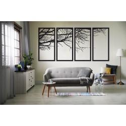 4 Parça Ağaç Metal Tablo